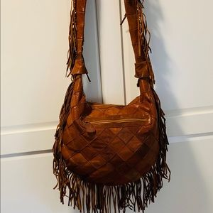 Anthropologie Jesslyn Blake Rowlyn Leather Hobo